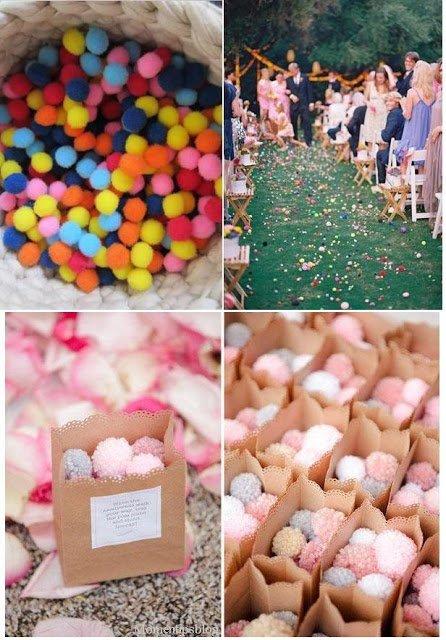 Pompones de lana como arroz en bodas